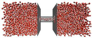 Water filtration by pressure driven flow through aligned carbon nanotube membranes. ©Jason Reese and Matthew Borg