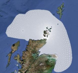 Mesh used for numerical simulation of the tidal stream power resource of the Pentland Firth